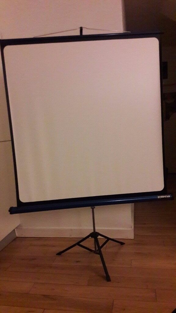 large vintage projector screen for cine super 8 film projection with stand
