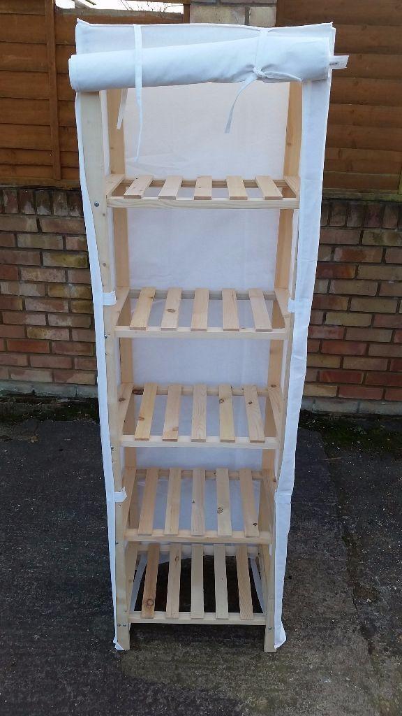 Argos Polycotton and Wood Tall 5 Narrow Shelf Storage Unit - Cream & Argos Polycotton and Wood Tall 5 Narrow Shelf Storage Unit - Cream ...