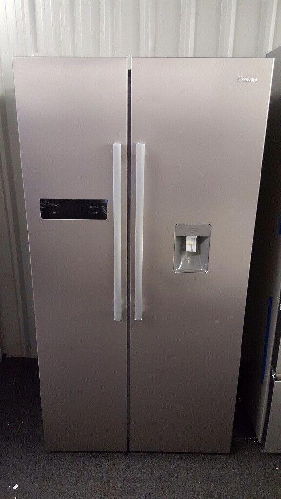 Double Door Fridge Freezer Part - 42: Brand New Swan SR70110S 90cm American-Style Double Door Fridge Freezer With  Water Dispenser -