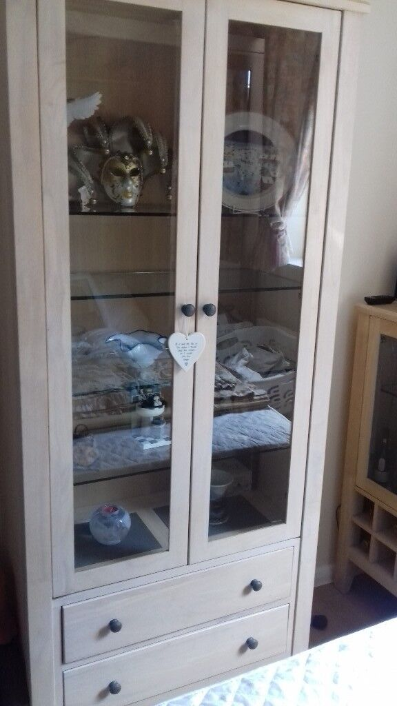 Solid Wood Display Cabinet With 4 Glass Shelves And Two Drawers