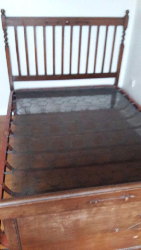Good Wooden Antique Bed Frame With Spring Base.