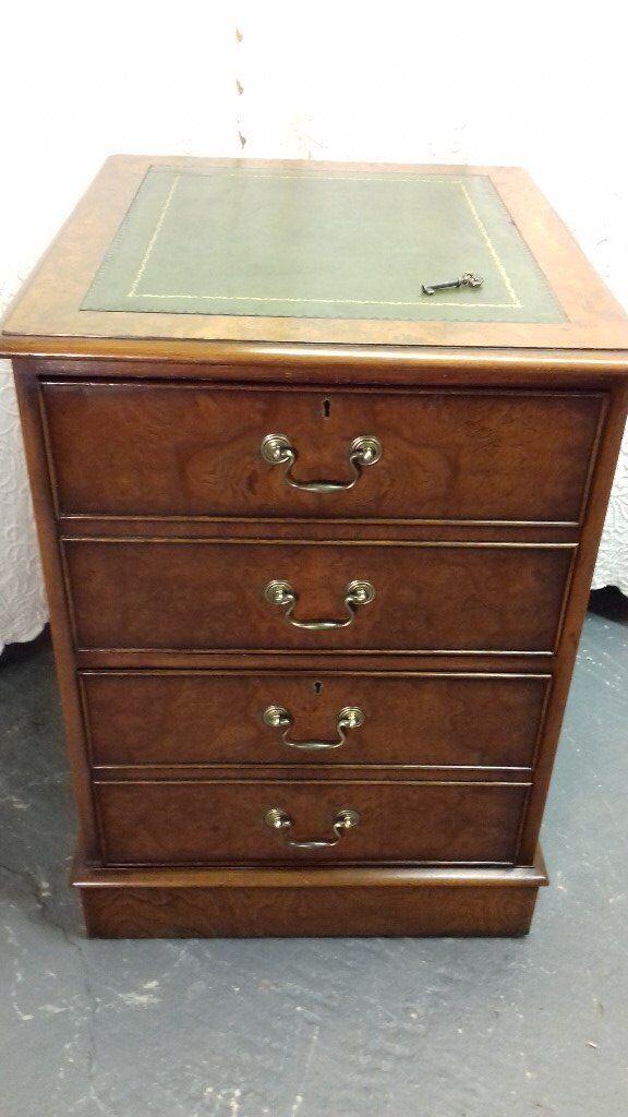 ... Antique Regency Style Burr Elm Walnut Leather Topped Filing Cabinet  Desk Drawers ...