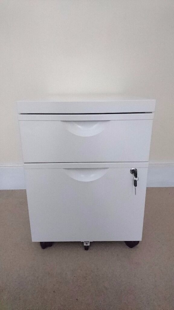 Ikea ERIK Unit With 2 Drawers On Castors In White | Small Filing Cabinet