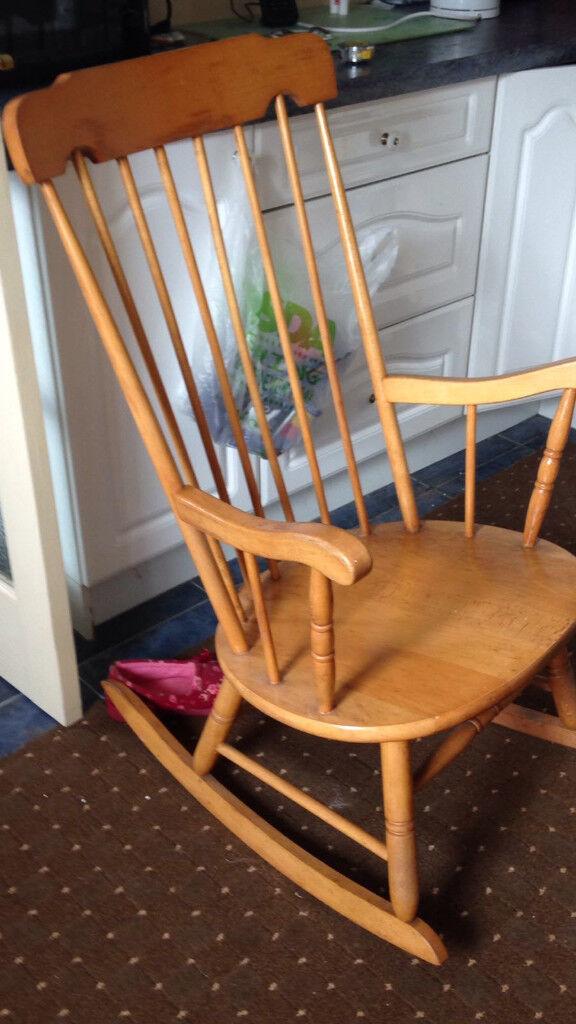 Antique Pine Rocking Chair Circa 1980. Image 1 Of 2