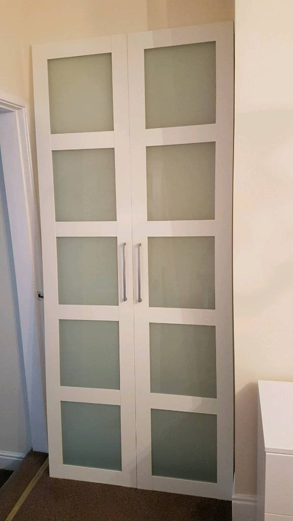 White IKEA PAX Wardrobe With Bergsbo Frosted Glass Doors.