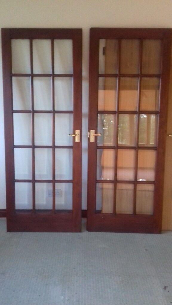 Mahogany Interior 15 Panel Glass Double Doors   In Aberlour ...