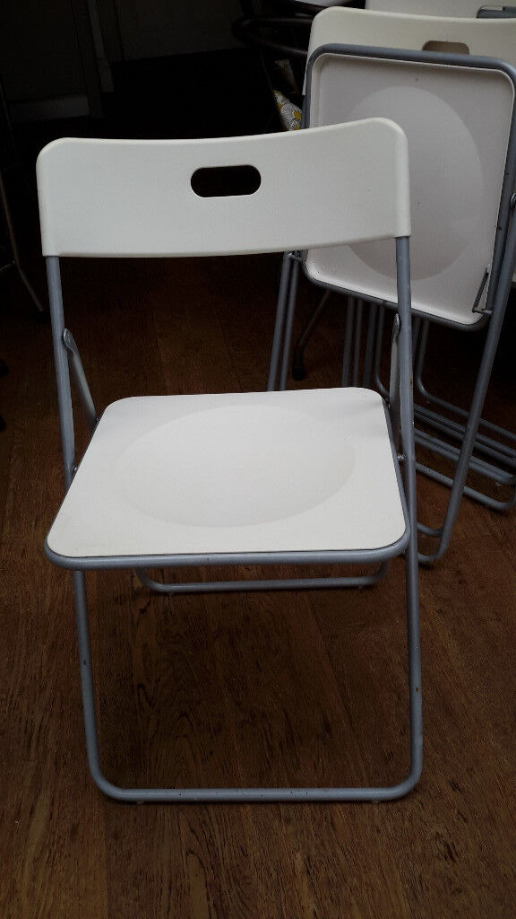 Plastic White/cream Folding Chairs, Metal Legs. 5 Available
