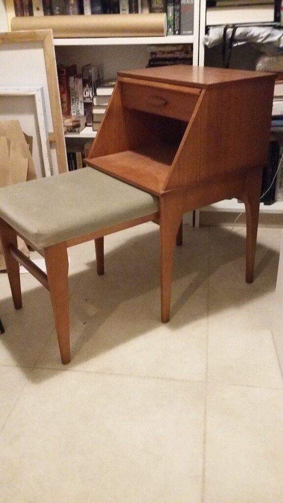 Teak Retro Vintage Telephone Table And Hall Seat