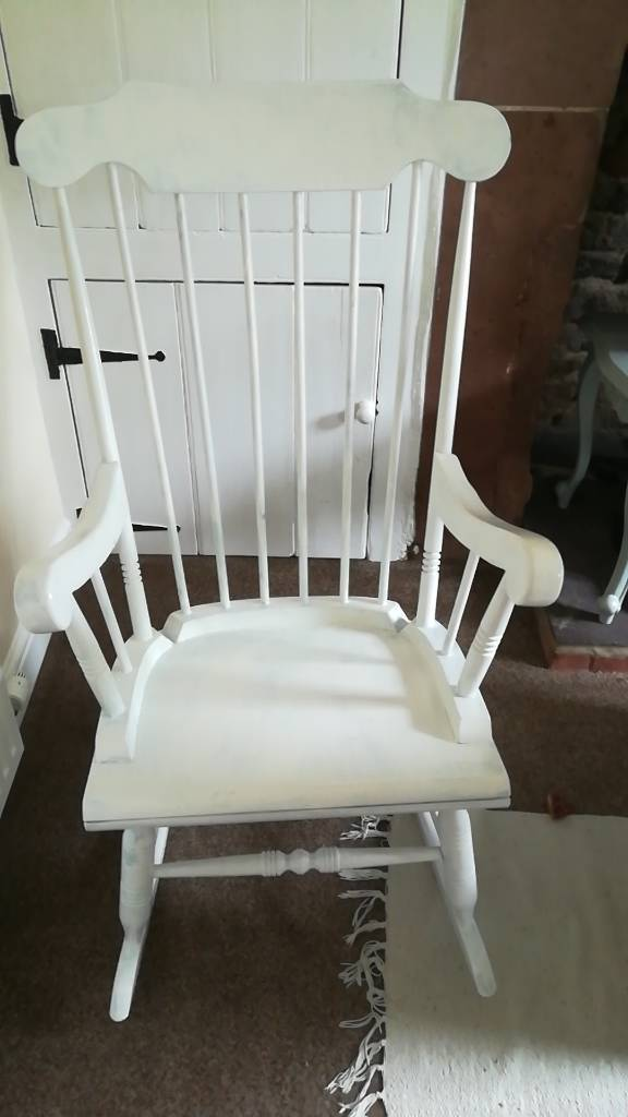 Rocking chair shabby chic upcycled white vintage chair nursery nursing chair & Rocking chair shabby chic upcycled white vintage chair nursery ...
