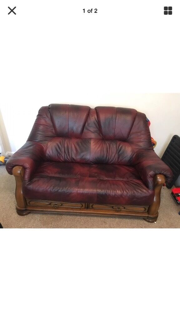 Good 2 Seater Oxblood Red Italian Style Leather Sofa Wood Frame Settee With  Drawers