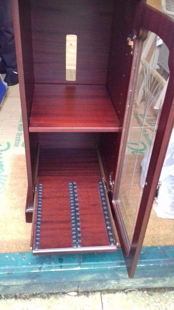 Mahogany Stereo Storage Unit.good Condition.slide Out Drawer For Cds.