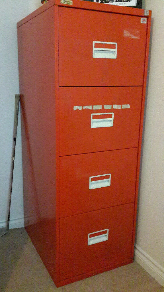 Red Metallic Filing Cabinet With 4 Drawers