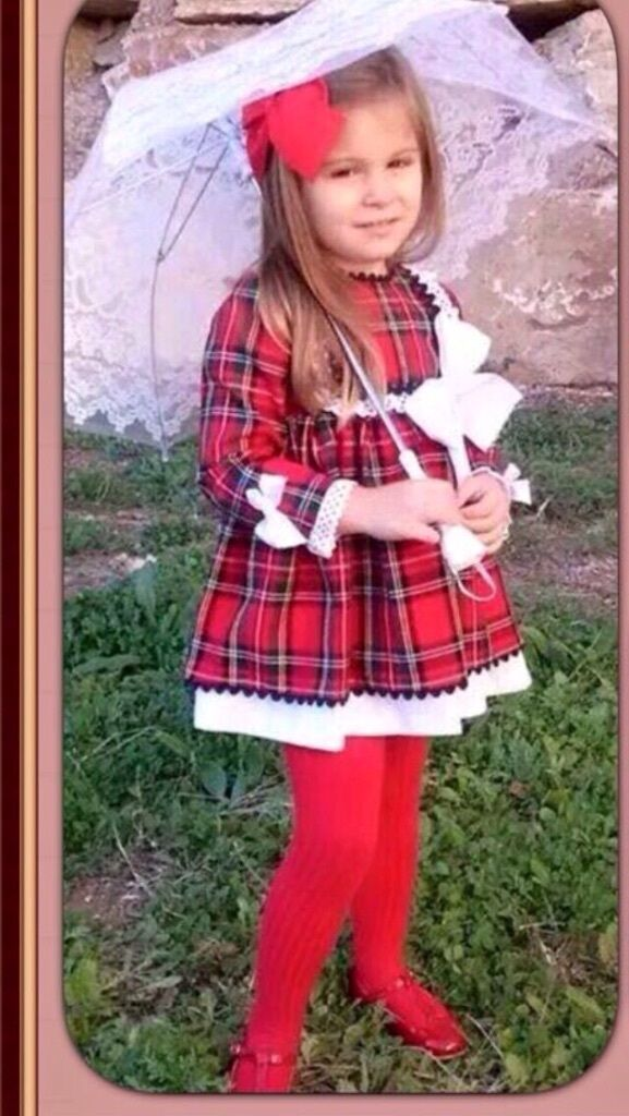 Spanish Romany red tartan Christmas girls dress outfit new ...