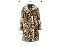 Topshop leopard faux fur coat size 12- Gorgeous!