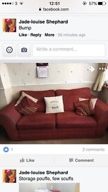 Red/burgundy sofa 3 piece suite with matching pouffe