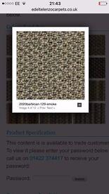 RRP:25sqm! Edel Telenzo Carpet Barbican 100% Wool Grey (smoke) Off Cut Remnant Size 1.60 M X 4m New
