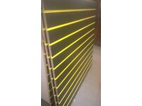 job lot of 4 x black slatwall 4x4 ft with yellow inserts delivery available