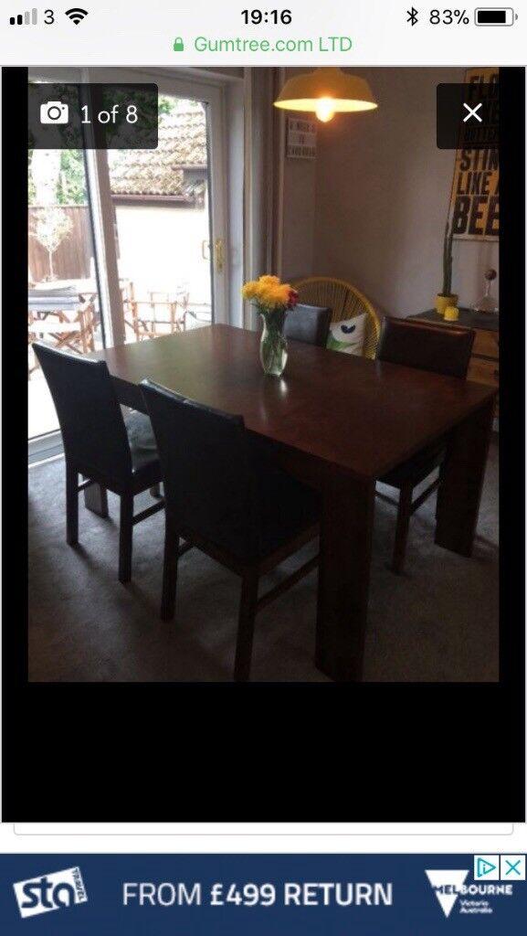 Gorgeous Dark Wood Table And 4 Chairs In Kingsteignton Devon