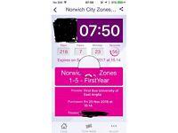 Norwich zones 1-5 bus pass