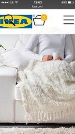 IKEA OFELIA CREAM TEXTURED THROW BLANKET