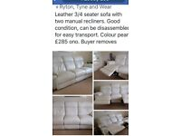 3 seater manual leather recliner