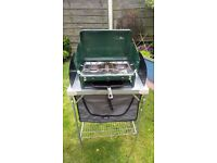 Hi Gear C2 Burner Camping Stove with Grill and Kitchen Unit