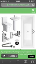 Brand new square double ended acrylic bath with bath waste