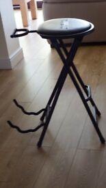 Kinsman folding guitarist's stool and guitar stand