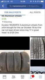 4 aluminium wheels from a KA great tread to £125 Ono