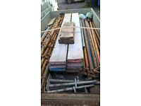 Quickstage/alloy scaffolding and battens. Acrows, tubes , fixings and needles. Heras etc.