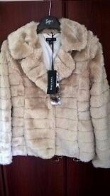 Ladies Brave Soul Fur Jacket size 10