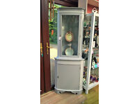 Painted vintage Corner display cabinet with keys