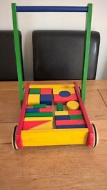 John Crane Pintoy Wooden Baby Walker with coloured bricks