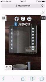 60 LED BATHROOM MIRROR CABINET BLUETOOTH SHAVER DEMISTER SENSOR GALACTIC