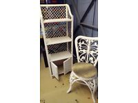 Rattan bookcase and chair