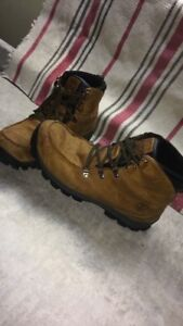 Brown leather timberland work boots