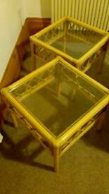 Bamboo style coffee table pair