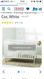 White kinder valley cot