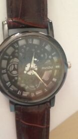 men's faux leather skeleton watch boxed