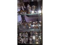 Set of 24 miniature crystals with display cabinet