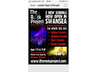 Drums guitar bass singing lessons through the Rock Project Swansea