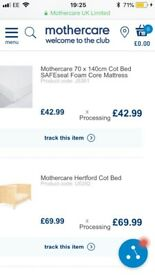 Mothercare Hertford cot and safeseal foam mattress- hardly used