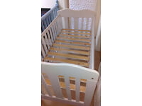 4in1 John Lewis Lilliput Cot bed heavy duty with Rochingham GreenBear Eucalyptus Mattress White ONO