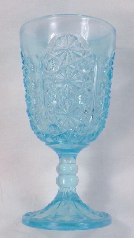 Daisy & Button With Thumbprint Wine Goblet Blue Glass EAPG Antique