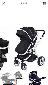 Baby 3 in one pram with rain cover