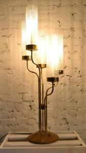 Lampe italienne en laiton et teck, de 1970