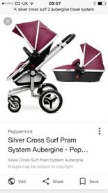 Silver cross surf 2 in aubergine comes with carry cot and extras