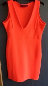 Size 14 boohoo bright orange fitted dress