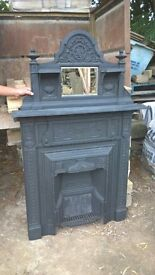 original cast iron fireplace with overmantle