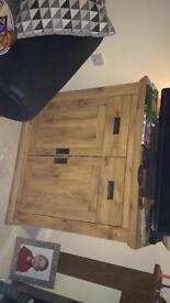 Solid oak unit shelf inside two draws